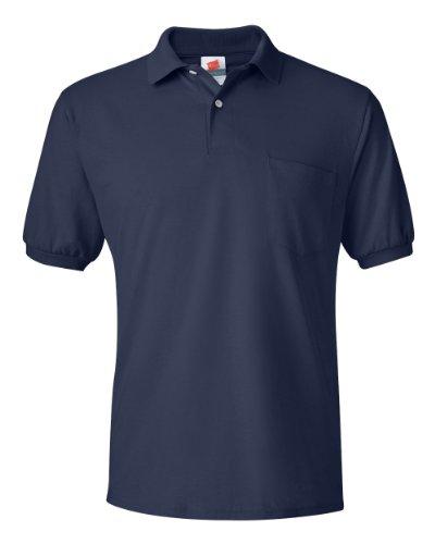 Hanes Herren-Poloshirt ComfortBlend EcoSmart aus Jersey mit Tasche - Blau - Klein