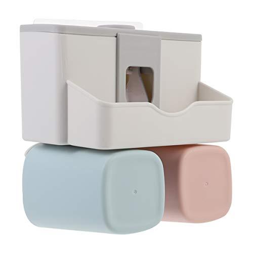 Cabilock Portaspazzolino da parete automatico, dispenser di dentifricio, rasoio da bagno, pettine organizzatore per casa, hotel e dormitorio