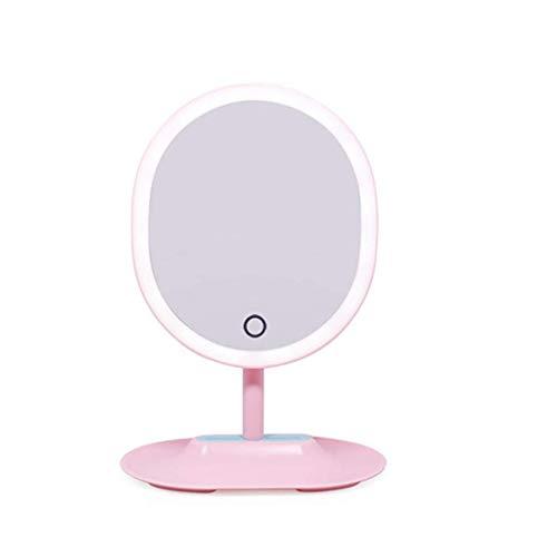 DERUKK-TY Artículos para el hogar y Espejo de Maquillaje con luz, Espejo de Maquillaje Iluminado Espejo de Princesa de Escritorio Almacenamiento de Escritorio Espejo de tocador con luz LED
