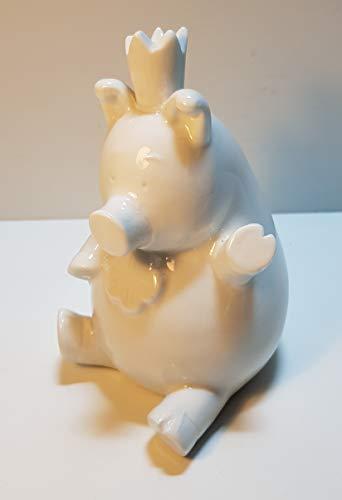 Hucha de cerámica con corona sentada, diseño de cerdito de la suerte, color blanco, aprox. 14 cm de alto