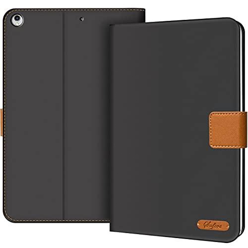 Conie TC224 Texture Hülle Kompatibel mit iPad 9.7 2017/2018, Superdünne Smart Cover Schutzhülle Textil Cover Tablethülle für iPad 9.7 2017/2018 Etui Dunkelgrau