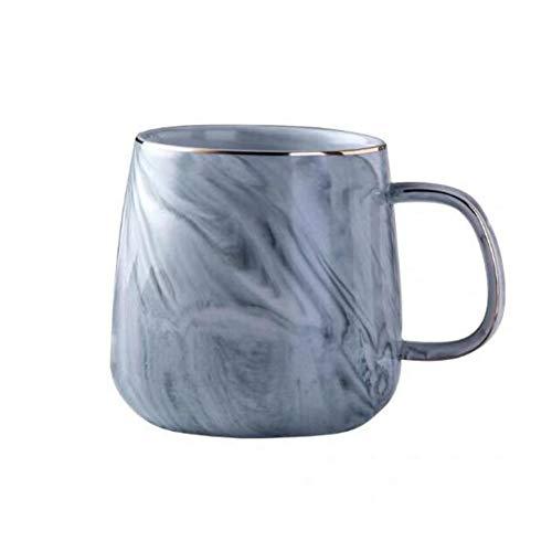 Yiyu Kaffeebecher Marmor Kaffeetasse Keramikbecher Paar Porzellan 350Ml Großmilchkaffee Tee Persönliche Bürotassen x (Color : Blue)