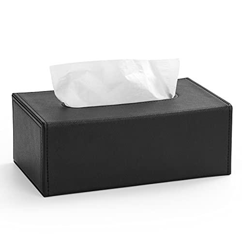 Luxspire Caja para Pañuelos de Papel de PU, Funda Caja Rectangular Dispensador de Pañuelos con Fondo Magnético para Lavabo, Muebles del Baño, Hogar, Domitorio - Negro