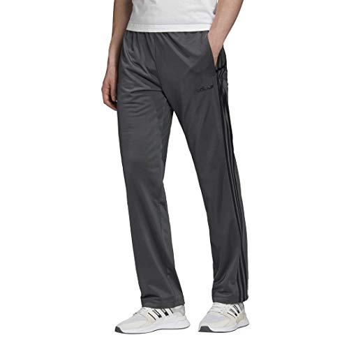 adidas Herren Essentials 3-Streifen Regular Tricot Pants, Herren, Hose, Essentials 3-Stripes Regular Pant Tricot Open, Massiv grau/einfarbig grau/schwarz, Large