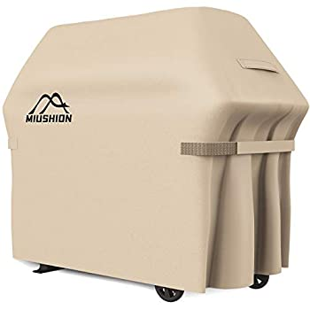 Miushion Grill Cover 58 Inch Heavy Duty Outdoor BBQ Grill Cover for Weber Brinkmann Char Broil Holland and Jenn Air etc UV Fade/Rip Resistant Waterproof  Beige