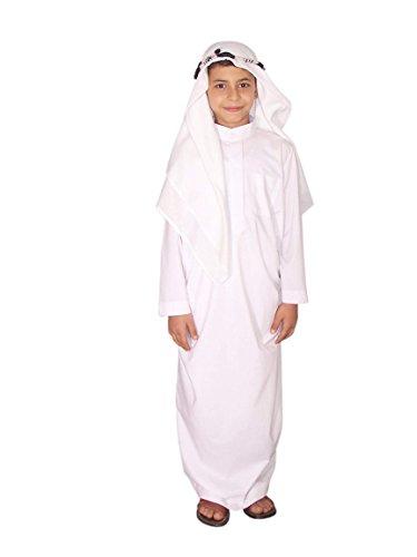 Egypt Bazar Kinder Araberkostüm Kostüm Araber Scheich Scheichkostüm Kinderkostüm, weiß (122-128 (6-7 Jahre))