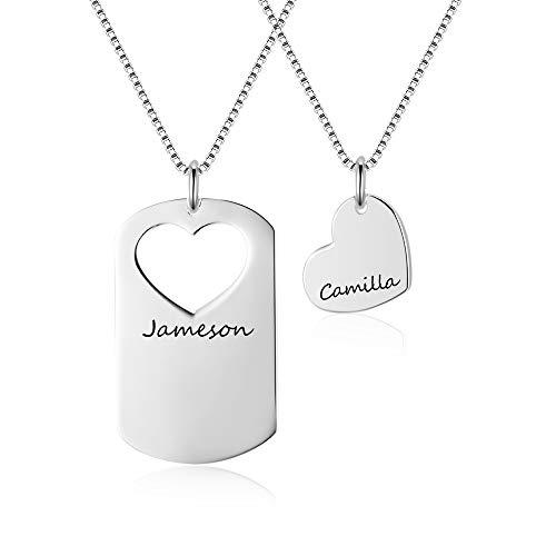 XiXi Collar con Nombre Personalizado Plata Collar de Amistad para 2 Corazón Colgante BFF Collares para 2 Hombres y Mujeres Regalo para Aniversario San Valentín Navidad