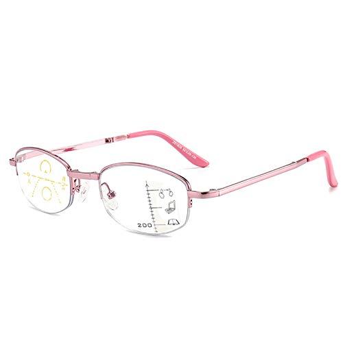 Eyedpe Gafas De Lectura Progresivas Multifocales para Hombres Y Mujeres, Lectores Multifocales Sin Línea Gafas De Lectura con Bloqueo Luz Azul, Protección 100% UV, Vista Mejorada,Rosado,+350