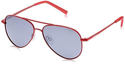 Polaroid Unisex-Kinder Pld 8015/N Jb 39Y 52 Sonnenbrille, Rot (Red/Greyilmir)