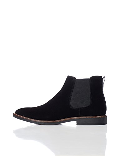 find. Boots Herren aus Kunstleder mit Herringbone-Muster, Schwarz (Black), 43 EU