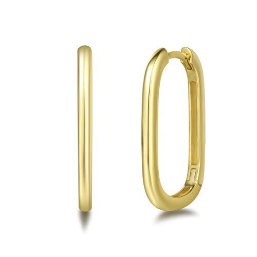 Pendientes de Aro Rectángulo para Mujer Plata de ley 925 Chapada Oro Amarillo Aretes Pendientes Hoops Joyas para Mujer Niñas - Dimensión: 25 * 15 mm