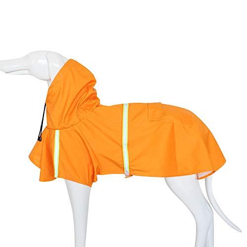 BLEVET Mascota Perro Impermeables con Capucha Chubasqueros para pequeña Medianas Grandes Perros MZ058 (XXL, Orange)