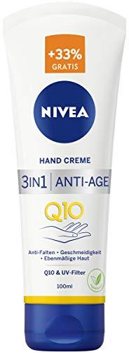 NIVEA 3in1 Anti-Age Q10 Hand Creme (100 ml), Anti-Falten Handpflege mit Q10 und UV-Filter, pflegende Hautcreme für normale bis trockene Hände