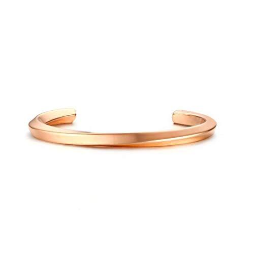 ZHDXW Pulsera de aro con extremo abierto, vintage, brazalete de acero de titanio, pulsera hueca para hombre y mujer, joyería piolizada simple (oro rosa, 50 mm)