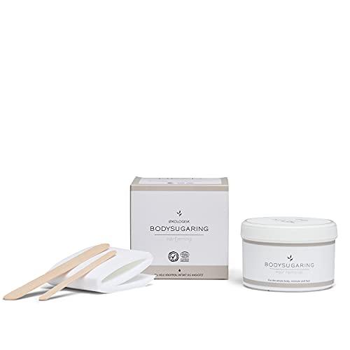HEVI Body Sugaring Set 375g | Bio-zertifizierte Zuckerpaste für Haarentfernung | 1 Dose Zuckerwachs 15 Vliesstreifen 2 Spatel | 4 Wochen Haarfrei | Für ganzen Körper | Intimbereich | Männer und Frauen