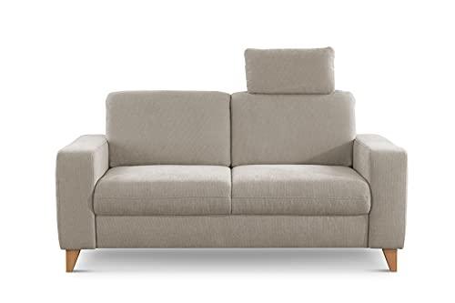 CAVADORE 2er Sofa Lotta / Skandinavische 2-Sitzer-Couch mit Federkern, Kopfstütze und Holzfüßen / 173 x 88 x 88 / Webstoff, Creme