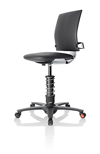 3Dee Active-Office-Chair - PREMIUM-Leder - poliertes Aluminium - Feder PLUS