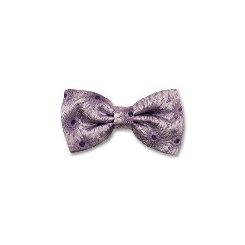 Robert Charles. Noeud papillon noué. Gerbera, Soie. Violet, Motifs. Fabriqué en Italie.
