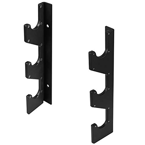 Yes4All Horizontal Wall Mounted Olympic Barbell Rack - 3 Bar Vertical Barbell Storage Rack - Weight Bar Holder (1 Pair)
