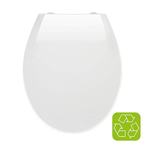 Wenko Premium WC-Sitz Kos weiß, Toilettendeckel mit Absenkautomatik und Fix-Clip Hygiene Befestigung für leichtes Abnehmen, aus bruchstabilem Thermoplast, Maße (B x T): 37 x 44 cm