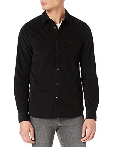 Calvin Klein Jeans Herren Corduroy Slim Stretch Shirt Hemd, Ck Black, XL