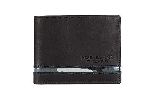 Pepe Jeans Delta Cartera horizontal con Billetera extraible Negro 11x8, 5x1 cms Piel