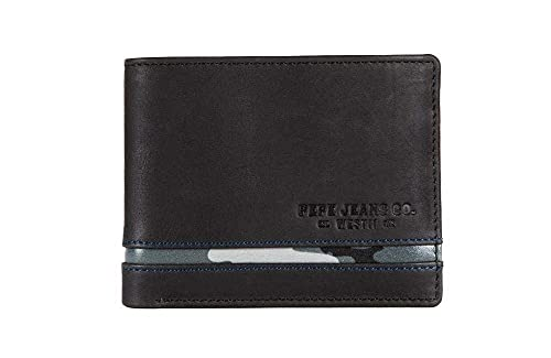 Pepe Jeans Delta Cartera horizontal con Billetera extraible Negro 11x8,5x1 cms Piel