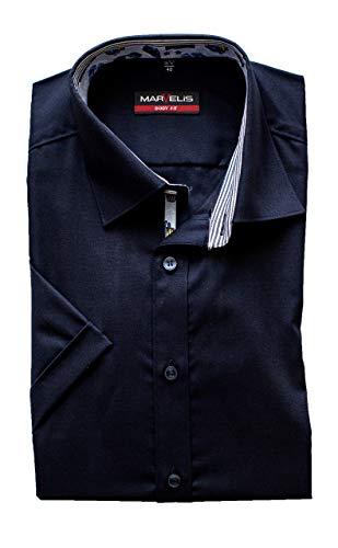 Marvelis Hemd Body Fit Kurzarm, Bügelleicht, Blau, ausgeputzt, New Kent Kragen, 100% Baumwolle (39)