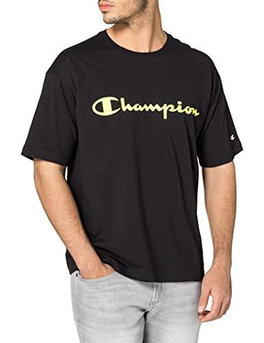 Champion Seasonal Fluo Logo Crewneck T-Shirt Camiseta, Black Kk002, XL para Hombre
