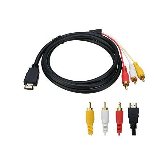 Totkakka HDMI-Compatible a 3Rca HDMI-Compatible a 3RCA Dorado A AV a tricolor Diferencia Línea Audio Macho a Macho para TV DVD - Negro