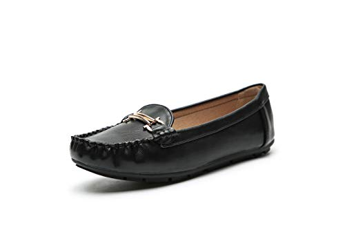 Comfortable Foldable Slip On Loafers Moccasins Driving & Walking Flats Cushioned Insole Shoes for Women, A-AVE10 Black Size 11
