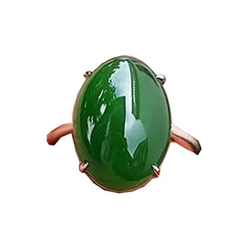 Anillos de jade, Natural verde Jade piedra Anillo Para Mujeres Hombres Perlas Ovaladas Riqueza Suerte 18x13mm Piedra Preciosa de Plata Anillo Ajustable de Joyería AAAAA