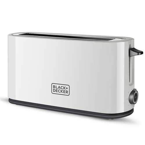 Black+Decker BXTO1001E - Tostadora de ranura larga (1000 W, 7 niveles de tostado, color blanco)