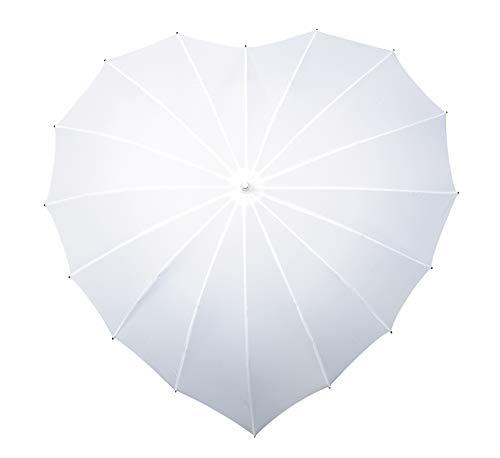 VON LILIENFELD Regenschirm Damen Sonnenschirm Brautschirm Hochzeitsschirm Herz weiß