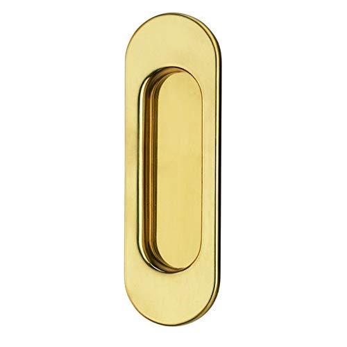 JUVA Tirador para puerta corredera redonda de latón pulido – 3663 | Tirador empotrado para cajones | Tirador para muebles 125 x 40 mm | 1 pieza tirador de puerta de armario con tornillos