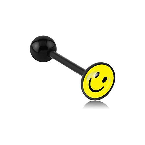 INOKI Barbell Zungenpiercing Acryl Logo Scheibenbremse Smile - Armreif/Stecker 1.6 mm, Long. Int. 16 mm, Ball 6-8 MM