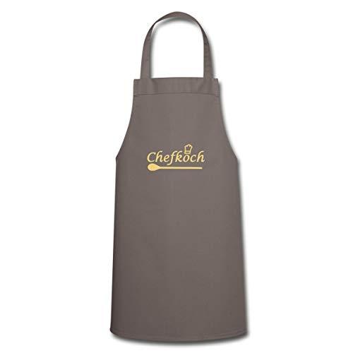 Spreadshirt Kochen Chefkoch Kochlöffel Kochschürze, Grau