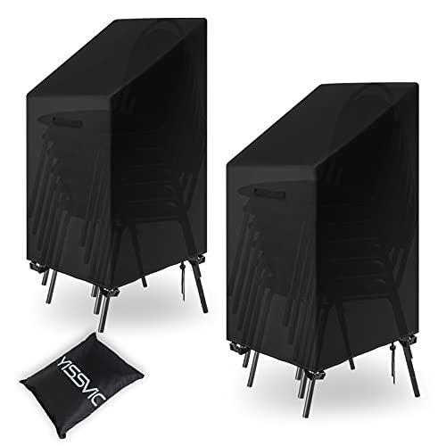YISSVIC Housse de Chaise de Jardin 2 Pcs 65x65x80/120cm 420D Housse de Fauteuil Jardin Empilables Imperméable Résistance au Vent Anti-UV avec Corde et Boucle