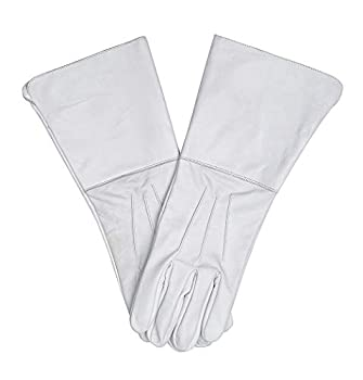 Swiftwears Medieval Gauntlet Leather Cosplay Gloves Long Arm Cuff  Medium White
