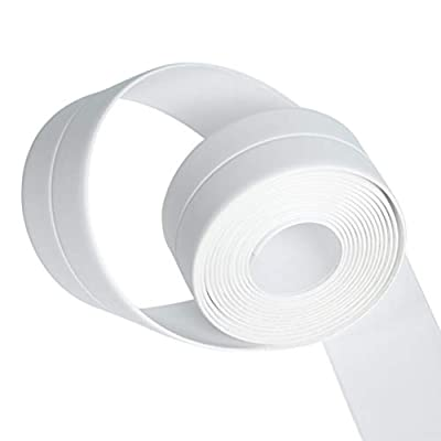 OUNONA Mildewproof Tape Self-Adhesive Waterproof Wall Strip Corner Protective Sticker for Bathroom Kitchen 260 x 4 cm (White)