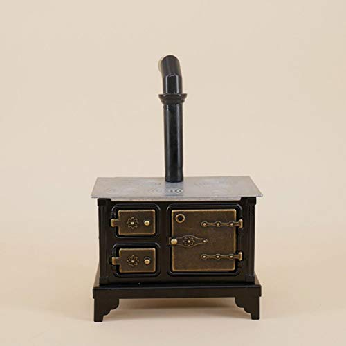 EKDJKK Miniature Furniture Old Range Cooker Stove, Dollhouse Miniature Antique Cast Iron Stove, Doll House Ornament Home Decor Kitchen Stove Furniture Toy Cooking Bench