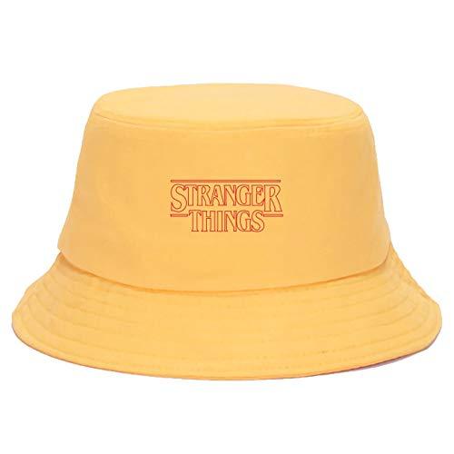 JXMK 56-58cm Stranger Things Hip Hop Impreso Sombrero de Pescador Casual Protección Solar Sombrilla Sombrero de Cubo Algodón Moda Sombrero de Pesca Sombrero Unisex