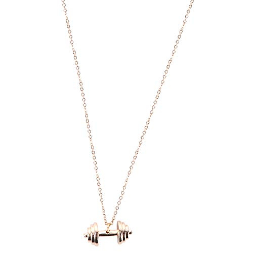 TOYANDONA Mancuerna Colgante Collar de Acero Inoxidable Barbell Gym Necklace Fashion Punk Neck Chain Jewelry Gift for Women Men Valentines Day Birthday Golden