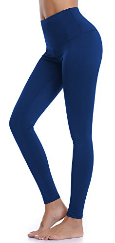 Aenlley Womens High Waist Yoga Pants Tummy Control Workout Training Tight Leggings Color Dark Blue Size XL