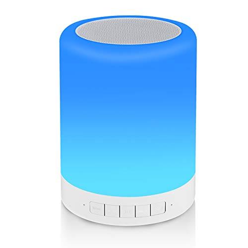 REAWUL Nachttischlampe mit Bluetooth-Lautsprecher, Touch Night Light Table Stimmungslampe mit 3 LED Touch-Dimmmodi und 7 Farben zum Umschalten, Geschenk für Frauen Männer Teenage Mädchen und Jungen