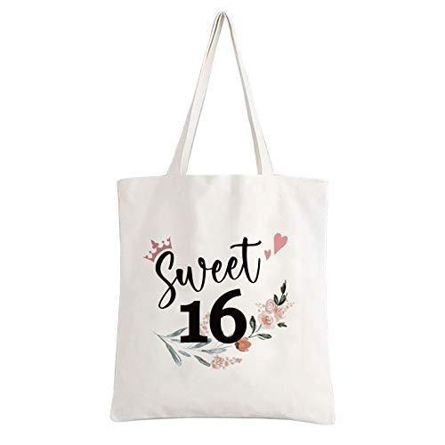 easycozy Funny Cute Sweet 16 Years Canvas Tote Bag Reusable Tote Bag School...