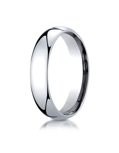 PriceRock Palladium 5mm Slightly Domed Standard Comfort-Fit Wedding Band Ring for Men & Women Size 4 to 15