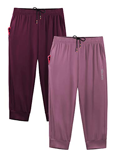 Neleus Men's Jogger Pants Athletic Sweatpants Running 3/4 Capri Pants,2 Pack,Rose Red/Burgundy Red,US XL,EU 2XL