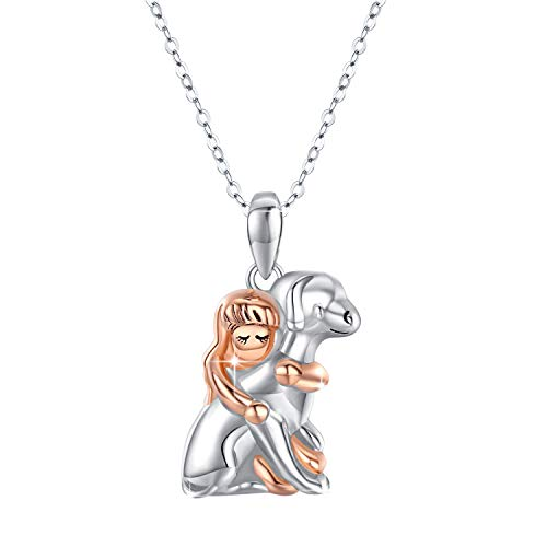 Hund Halskette, Mädchen umarmen den Hund Anhänger 925 Sterling Silber Valentinstag Geschenke süße Welpen Hund Geschenke für Frauen, Mädchen
