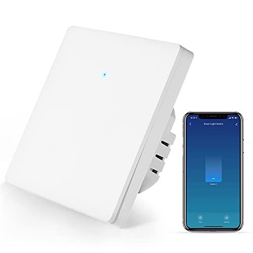 Smart Lichtschalter, Wifi Alexa Lichtschalter Kompatibel mit Alexa Google Home und IFTTT, Smart Life/Tuya App Fernbedienung/Sprachsteuerung und Timing-Funktion, Nullleiter Erforderlich(1-weg)